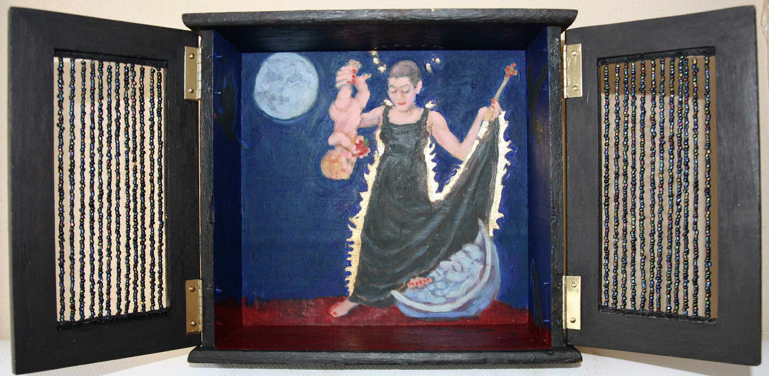 Rabebschrein, 18x24x7, 2021, Holz, Glasperlen, Blattgold